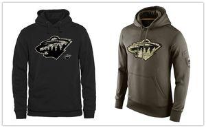 Minnesota Wild Mens Felpa Salute to Service T-shirt con cappuccio da uomo Sideline Therma Performance Pullover Nero oliva Spedizione gratuita