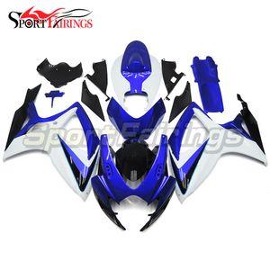 Completa da motocicleta Carenagens para Suzuki GSXR600 GSXR750 K6 2006 2007 GSXR600 Body Work GSXR750 06 07 ABS plástico branco Capas Azuis
