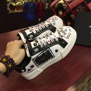 Dolce & Gabbana D&G Shoe NUOVO modo della roccia Runner camuffamento Sneakers in pelle Scarpe Uomo, Women Rock Studs esterna CAMUSTARS casual addestratori scarpe sportive yh896010