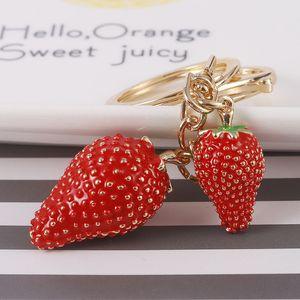 Rhinestone Keychain Handbag Bag Decoration Holiday Gift Cute Strawberry Crystal Key Chain Sparkling Key Ring Charm Purse Pendant