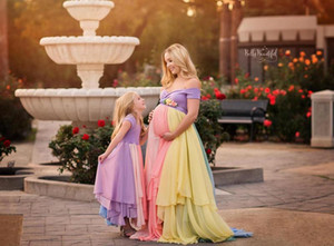 2020 Радуга пром тюль Off плеча сшитое PregnantGowns Mult-Color Материнство платье Плюс размер платья Люкс 808