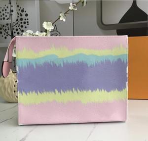Envio Grátis! New Travel Higiene Pessoal Pouch 25 centímetros Proteção escale composição de embreagem mulheres couro genuíno impermeável sacos de cosméticos para mulheres