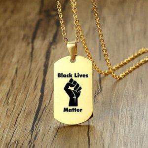 Protesta negra Vidas Materia Collar de Oro Negro Militar Marca Mujeres joyas de moda Hip Hop Hombres de acero inoxidable Collares pendientes 16 Diseño