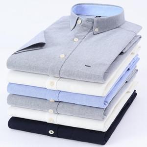 Mens Dress Shirt 100% Cotton Oxford Camisas Masculina Button Down Collar Short-Sleeve