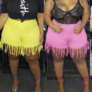 Plus Size 4xl 5xl Tassel Casual Vintage Shorts Women Elastic High Waist Short Summer Streetwear Neon Yellow Biker Shorts