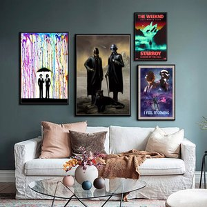 Daft Punk The Weeknd Starboy Metallic Hot DJ Pintura Hip Hop Art Silk Canvas Poster Recados Home Decor