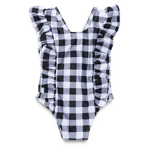 INS Girls plaid One Piece swimwear Infant Baby Girl Swimsuit summer check Ruffle sleeve children Swimming Romper Y1361