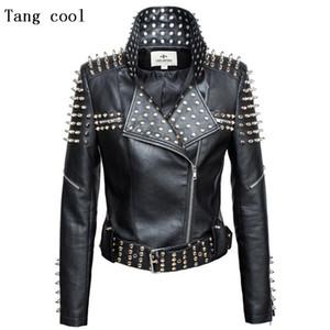Neue 2021 Herbst Mode Frauen Niet Motorrad PU Faux Leder Spike Jacke Oberbekleidung Streetwear Jacken
