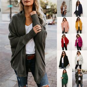 Batwing Ärmel Lange Strickjacke Frauen Pullover 2019 Herbst-Winter-Langarm Freistich Strickmantel Street Plus Size Sweater
