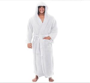 Solid Color mit Kapuze Gurtmens-Designer-Roben Langarm Winter Herbst Aufmaß Super Long Nachtwäsche beiläufige lose Mens Pyjamas