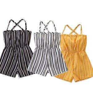 Baby Girls Stripe Tuta Neonato Pantaloncini Summer Stripe Stampato Sling Onesies Pagliaccetto Neonate Bretella Tuta Backless