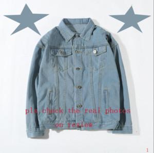 Denim chaqueta de moda Hombres sudadera delgada de la motocicleta de los hombres y de las mujeres del dril de algodón causal abrigos estilo de Hip Hop Denim Jacket ltt8081502