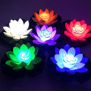 LED Wishing luce 18 centimetri impermeabile Lotus luci Floating dell'acqua dello stagno galleggiante di illuminazione della lampada di notte Garden Pool Party decorazione del giardino 10165