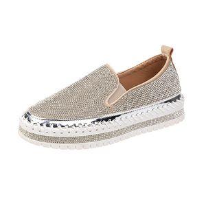 Platform Flats espadrilles üzerinde Moda Sneakers Kayma Kadın Creepers Flats Bayanlar Kristal Loafers Casual Ayakkabı BlingBling Ayakkabı