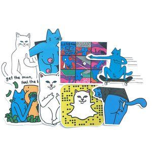 10 Sets=80PCS Middle Finger Cat Invincible Cat Sticker Computer Refrigerator Skateboard Guitar Sticker