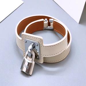 2020 Luxus-Designer-Schmuck-Frauen Armband Lederarmband Männliche und weibliche Paar Lock Armband Marke Armbänder Ledermanschetten Herrenschmuck