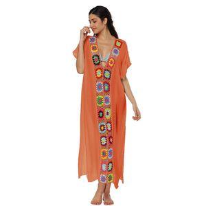 Women Boho Beach Dress Summer Loose Slit Long Dresses Skirt Crochet Edge Patchwork V Neck Short Sleeve One-piece Overalls Cover Up C3213