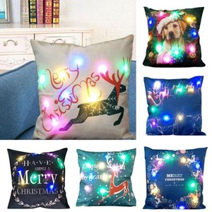 Weihnachten LED-Kissen Kissenbezug Xmas Party Wohnkultur Ornamente Pillowcase