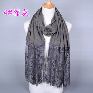 30 pieces per lot 2019 fashion solid color lace scarf low price plain printed lace shawl for women