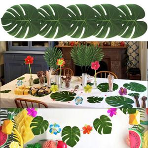 Tissu 12pcs artificiel Feuilles de palmier Tropical Hawaiian Luau Party Jungle Beach Party Thème Table Décoration de mariage de jardin Décor
