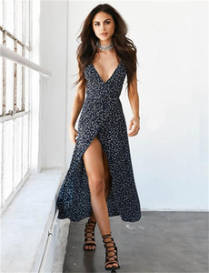 Split Polka Dot Robe imprimée Casual Femmes Vêtements Summer Femmes Designer Robes décontractées Sexy Deep V cou