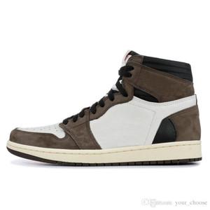Yeni 2019 1 yüksek Og Ts Sp Travis Scott erkek basketbol ayakkabı spor ayakkabı 1 s tasarımcı ayakkabı en kaliteli spor Boyutu 40-46