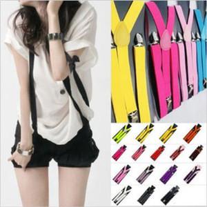 2pcs / pair di colore della caramella unisex pantaloni regolabili Y-back della bretella Brace elastico clip-on cintura regolabile Bretelle Bretelle CCA10259 100pair
