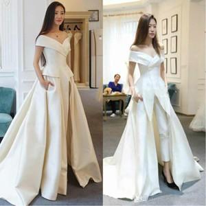 2020 Zuhair Murad Avec Jumpsuit Long Train blanc robes de soirée Off épaule balayage train robe de bal élégant Costumes Pantalons Robes Festa