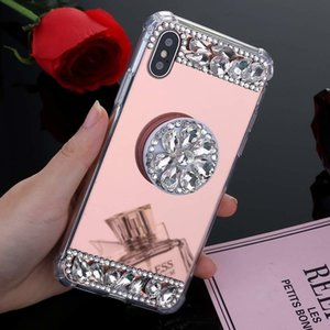Bling Diamond Stand Air Cushion Mirror Makeup Acrylic TPU Case For iPhone 11 Pro XR XS MAX X 8 Samsung S10 Plus S10e S20 Ultra Note 9 10 10+