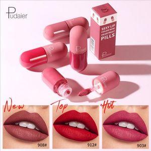 Pudaier 18 colori capsula rossetto rossetto opaco labbro di trucco di lunga durata impermeabile velluto rossetto liquido lipkit mini pillola lip gloss