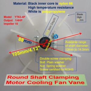 100pcs ronde à double arbre à vis de serrage 10 impulseur Moteur de refroidissement en plastique Ventilateur Vane YT63-4P (105mm) Remplacement 9,11,14mm intérieur