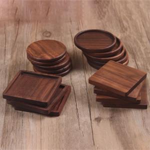 Sottobicchieri in legno massello Cuscinetti per tazze da tè e caffè Tappetini isolanti per teiera in noce nero Tappetini per scrivania da casa Tappeti per decorazioni DHL WX9-1486