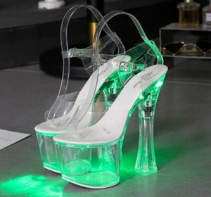 New style Hentian high night club super high heels shining sandals women's shoes show steel tube dance shoes crystal transparent sandal