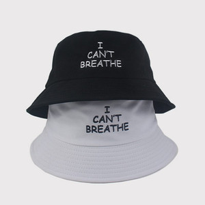 США STOCK Я CAN'TBREATHE ЧЕРНЫЙ ЖИВЕТ шляпу ВЕЩЕСТВО Вышитых рыбака Моды Скупой Брим Шляпа дышащей Повседневные Встроенные шапки