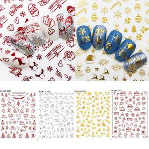 Stickers Nail Art de Noël d'or d'argent rouge couleur de flocon de neige Bonhomme de neige Sapin de Noël Père Noël creux Manucure Nail Stickers Décor HHA882