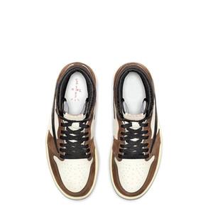 1s Travis noir mocha foncé TOP usine Version 1 inverse Chaussures de basket-ball entraîneurs des hommes nouveaux avec la boîte 2019 Chaussures de sport