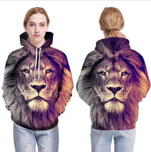 Estilo Animal Hot Nova Moda capuz Homens Mulheres capuz Imprimir Tops Lion Hoodies com capuz Fatos Outono Fina