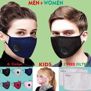 Máscara facial reutilizable lavable 6 color Hombres Mujeres Niños reemplazable filtro protector de válvula respirador máscaras de algodón puro libre de PM2.5 2 Filtrar