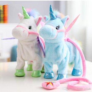 35cm Belle électrique Walking Unicorn peluche Peluche peluche électronique Pet Unicorn Doll Chantez Song for bébé anniversaire Cadeaux de Noël