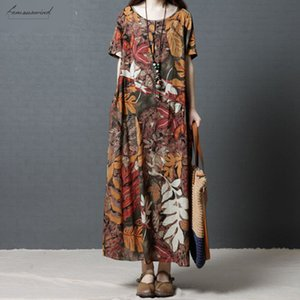 Summer Maxi Long Dresses 2020 Women Casual O Neck Short Sleeve Vestido Vintage Floral Printed Cotton Linen Party Dress