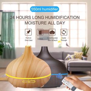 Новый Свет / Dark Wood 550ml Увлажнитель воздуха Пульт дистанционного управления Эфирное масло Диффузор Прохладный аромат Mist Maker 7 LED Цвет Изменение