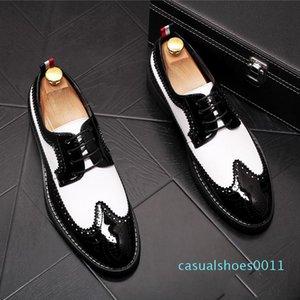 New Vintage Men luxury Designer gentleman Brogue black with white colors oxfords Dress Male Wedding prom Formal Shoes cc11