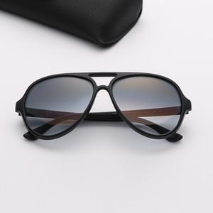 Pilot марка солнцезащитных очков двойной мост Дизайнерские Солнцезащитные очки Мужские Градиентные линзы Des Lunettes De Soleil с кожаным верхом качества Brown Case