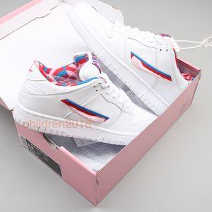 Con caja Parra x SB Dunk Low Hombres Mujeres Zapatos casuales 2019 Diseñador Street Skate Shoes Moda Big Kids Sneakers Tamaño 5.5-11