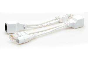 50pcs / lot branco cabo POE Adapter RJ45 Injector Splitter Kit de fita blindado Passive Power Over Ethernet12v Synthesizer Separator Combiner