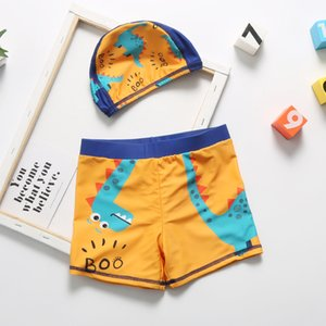 Little Boys swimming Trunks Cartoom One-piece Children Swimwear With Hat For 2-11 Years Kids Boy Swimming Pants 2020 Swim Shorts