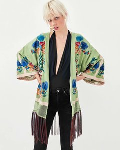 Europe And America 2018 Autumn Loose-Fit Slimming Long Sleeve Tassels Embroidered Ornaments Kimono Jacket Tops Women's