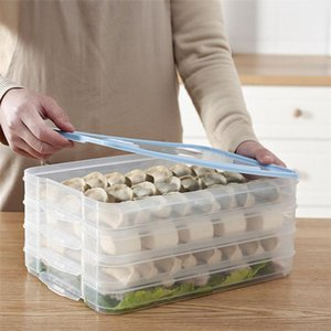 Refrigerator Dumplings Container 1PC Single Layer Refrigerator Dumplings Airtight Storage Container Plastic Box 0523#30