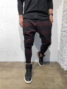 Lange Hose mittlere Taillen-lose Drawstring Mens Kleidung Plaid 3D Digital Print Herren Hose Sport Designer Mode
