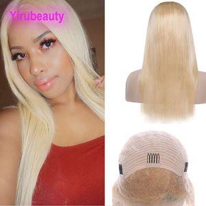 Brésil Virgin Hair 613 # Blonde humaine Cheveux Straiaght réglable 13x4 Lace Front Wigs 8-28inch Blonds Lace Front perruque